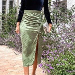 Zara green polka dot skirt
